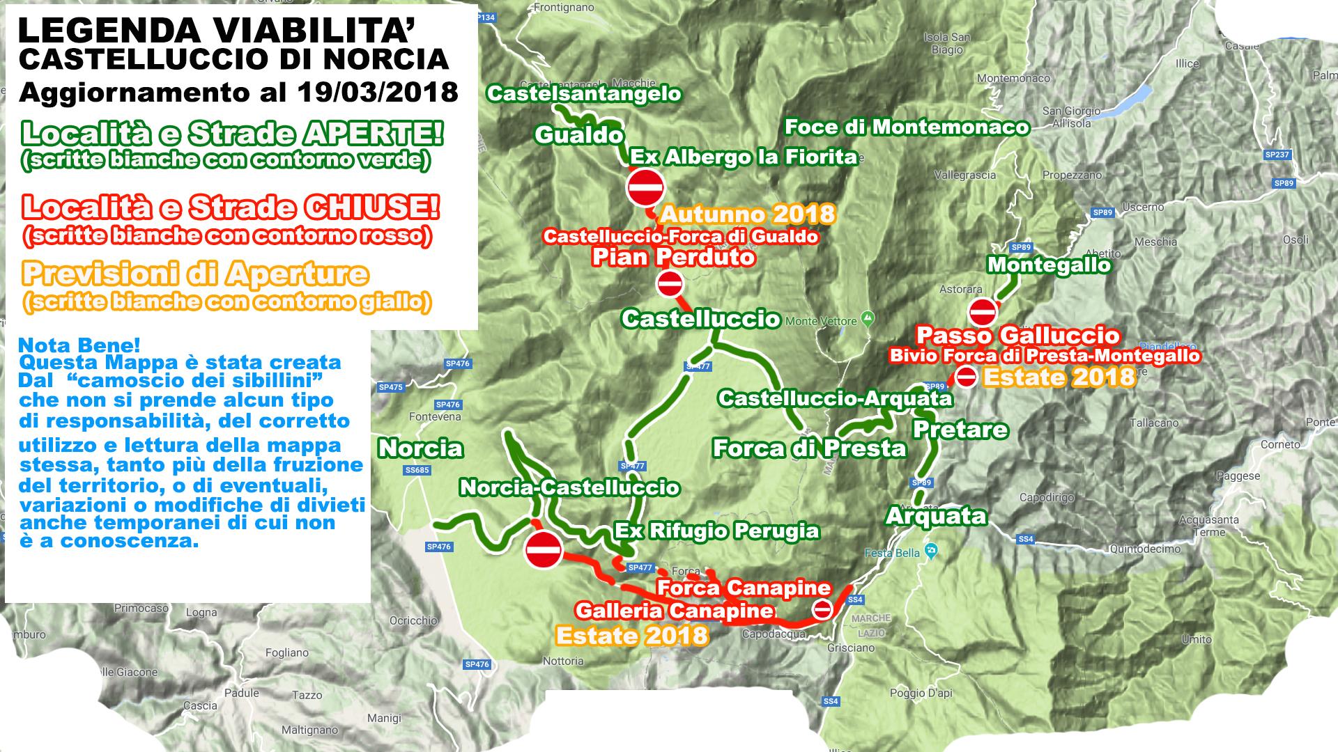Mappa della Viabilità di Castelluccio di Norcia