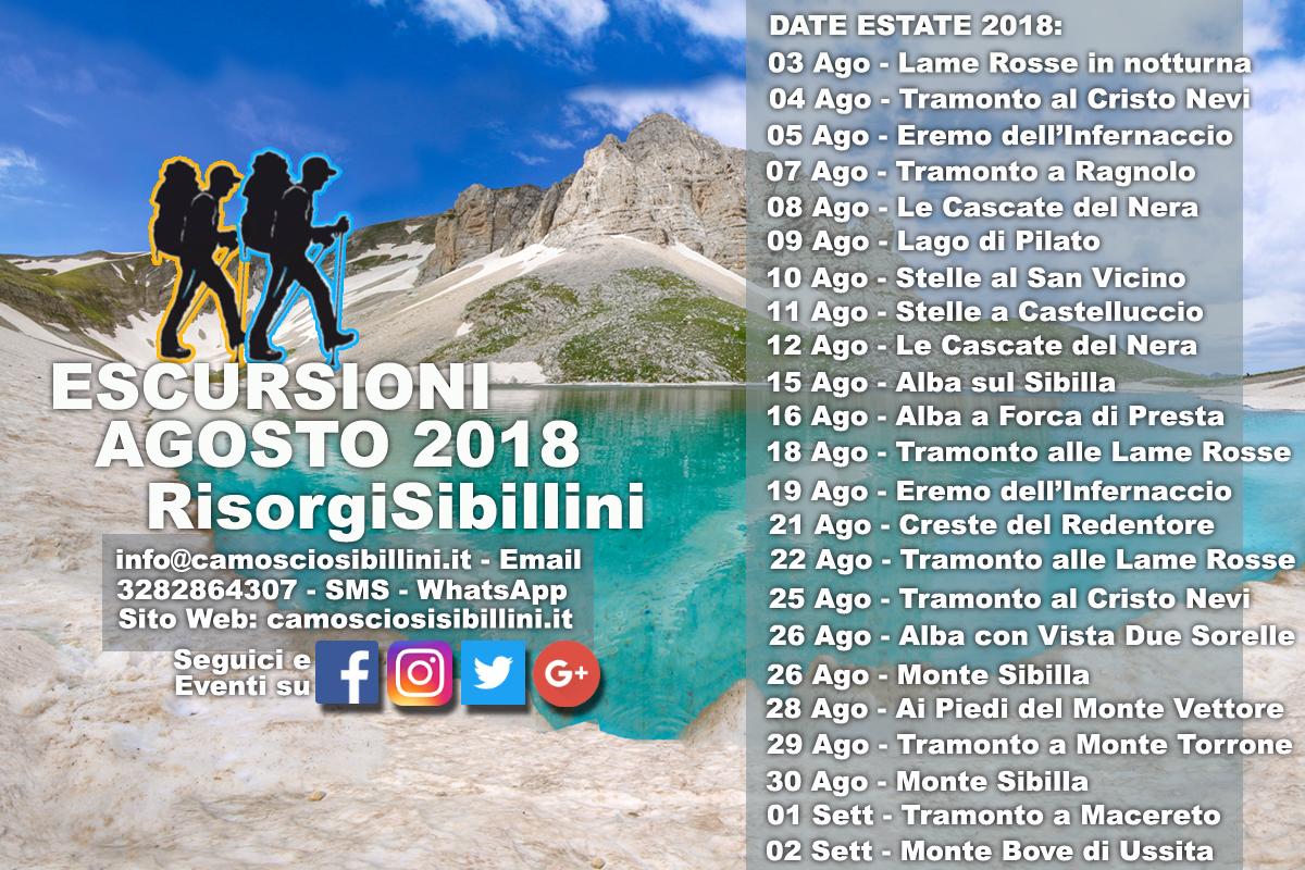 CALENDARIO ESCURSIONI AGOSTO 2018 SIBILLINI E MARCHE