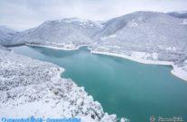 Lago di Fiastra con la neve del gennaio 2021